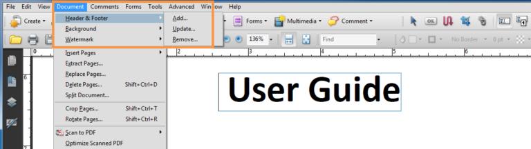 Menu bar - Document - Header & Footer - Update